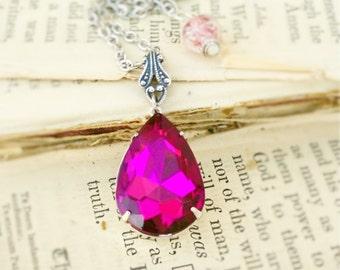 Juicy Raspberry Drop, Old Hollywood Vintage Glam Raspberry Glass Teardrop Rhinestone Necklace by Hollywood Hillbilly