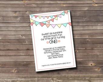 pastel flag banner first birthday custom printable invitation