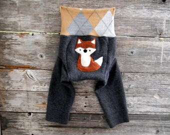 MEDIUM Upcycled Merino Wool Longies Soaker Cover Diaper Cover With Added Doubler Charcoal Gray/ Beige Argyle With Fox Applique  6-12M