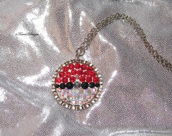Pokemon Pokeball Pendant Necklace with Swarovski Crystals Custom made OOAK by TorresDesigns Ready To Ship