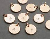 IN-499-RG / 2 Pcs - Initial Charm, Letter Disc Charms, Simple Plain Circle Stamp Pendant, Upper case, H, Rose Gold Plated over Brass / 10mm