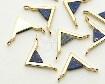 PD-1442-GD / 2 Pcs - Gemstone Metal Mix Pendant, Lapis Lazuli V Shape Sideways, Gold Plated over Brass / 18mm x 12mm