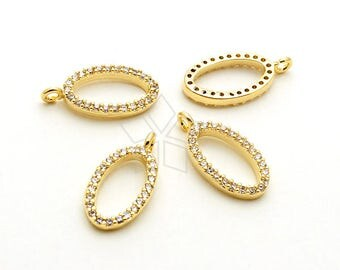 PD-1947-GD / 2 Pcs - Dainty CZ Bezel Pendant, Halo Cubic Zirconia Open Oval Charms, 16K Gold Plated over Brass / 6mm x 12mm