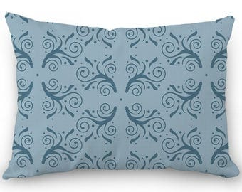 Blue lumbar pillow, decorative throw pillow cover, flourish design, cotton rectangular pillow with hidden zipper