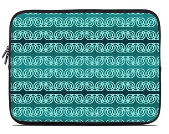 Teal laptop sleeve, turquoise and aqua laptop cover, circle chain pattern, laptop case, to fit 10, 13, 15, 17 inch