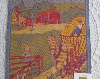 Vintage New Ekelund Kitchen Towel Linens Master Weavers Rainbow Collection Sweden 100% Cotton Farm Horse Barn