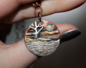 Copper Nature Scene Pendant, Copper Pendant, Glow in the dark, Naturescape, tree pendant, art jewelry