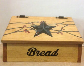 Bread Box, Wooden Bread Box, Black primitive Star, Primitive Decor, Primitive Kitchen, Bread Storage, Farmhouse Decor, Country Decor
