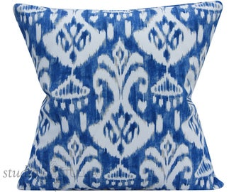 Outdoor Pillow Cover -Throw Pillow - Ikat Pillow Cover - outdoor pillow - blue and tan - 20X20 inch