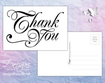 Printable Thank You Cards, Wedding Thank You Cards, Thank You Wedding Cards Printable, Thank You Postcards