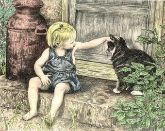 "ACEO Artists Trading Card,""Summer Afternoon"",Child and Cat,ATC,Cute, Colored Pencil mini print of original drawing by Patty Fleckenstein"