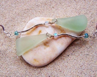 Sea Glass/Beach Glass Earrings, Elegant Long Sea Foam Green Triangles Dangling from Sterling Tubes on Sterling Silver French Ear Wires EA 48
