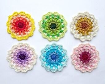 Crochet mandala circle applique - crochet circle - colorful mandala applique - mandala embellishment - mandala decor - 1 piece  ~3 inches