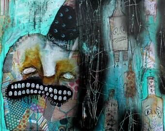 Abstract Portrait Art Print. dark art, outsider art, art brut, bottles, teeth, strange home decor, monster art, surrealism painting, raw art