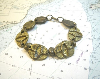 Brutalist Anne Dick Style Cast Bronze Bracelet - Rich Gold Patina - 1970s