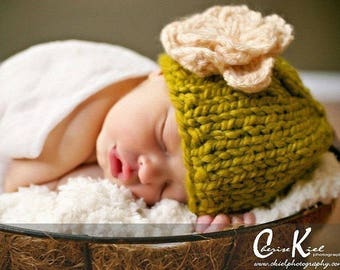Baby Girl Photo Prop, Baby Flower Hat, Knit Baby Flower Beanie, Baby Girl Hat, Newborn Flower Hat, Baby Knit Hat, Newborn Photo Prop