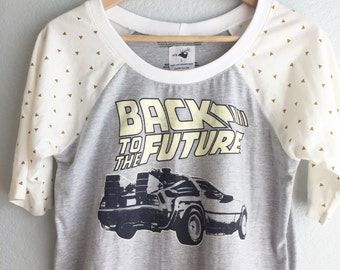 Women & Girls - Back to the Future Upcycled Raglan, choose your size (girls 6 - women L)
