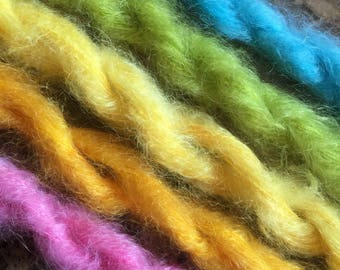 Mini Skeins  brushed mohair hand dyed knitting crochet supplies wool yarn  Waldorf Doll hair merino baby photo pro