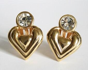 Vintage gold heart earrings. Clip on earrings.  Crystal earrings