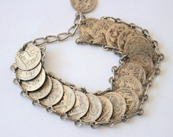 Vintage Zodiac coin bracelet.  Signs of the Zodiac