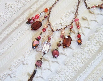 Downton Abbey Inspired Dangle Necklace, Victorian, Edwardian, Copper Peach and Brown Vintage Beads, Tassel, Lady Mary, Queen Victoria, 19.5""