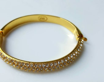Joan Rivers Pave Rhinestone Hinged bangle  Bracelet Wedding Ready mint condition