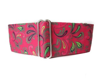 1.5 Inch Martingale Collar, Pink Martingale Collar, Pink Dog Collar, Paisley Dog Collar, Greyhound Collar, Wide Dog Collar, Whippet Collar