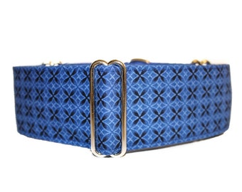 2 inch Martingale Collar, Blue Martingale Collar, Royal Blue, Geometric, Greyhound Collar, Blue Dog Collar, Wide Dog Collar