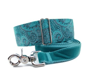 Teal Martingale Collar and Leash, Paisley Martingale Collar, Paisley Dog Collar, Dog Collar and Leash, Made in Canada, Whippet Collar