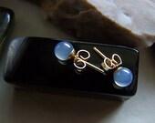Vintage Blue Chalcedony Natural Gemstone 14K Gold Earrings
