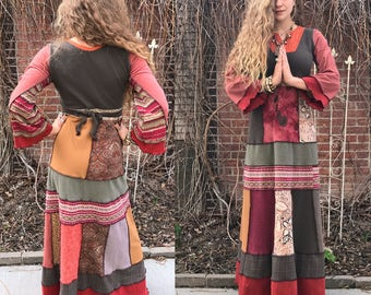 Eco Maxi Dress, Size S/M, Eco Clothing, boho clothing, hippie dress, patchwork dress, eco maxi dress, long dress,  neutral dress , Zasra