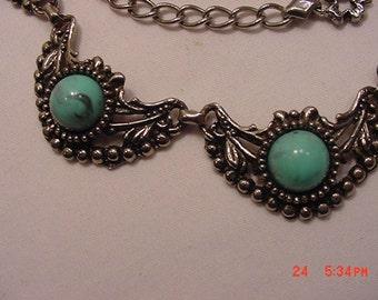 Vintage Faux Turquoise Cabochon Necklace  16 - 663