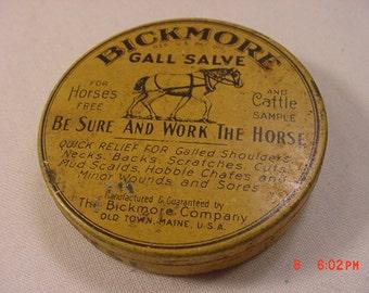 Vintage Bickmore Gall Salve Salesman Sample Full Tin  17 - 282
