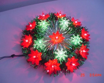 Vintage Everglow 16 Lite Poinsettia Christmas Tree Top In Original Box  17 - 380