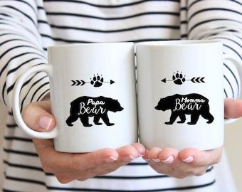 Personalized 11 oz or 15 oz Coffee Mug Momma Bear OR Pappa Bear Personalized Mug
