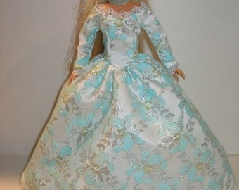 """Handmade 11.5"""" fashion doll clothes - white satin and aqua and silver lace gown with necklace"""