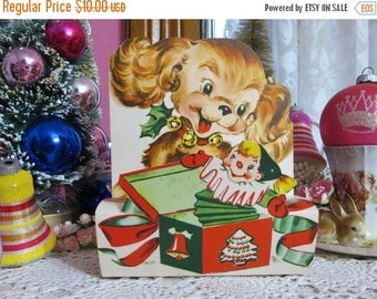 ON SALE Vintage Retro Mid Century Christmas Greeting Card-Puppy-Unused-Childrens-Stand-Up-3-D