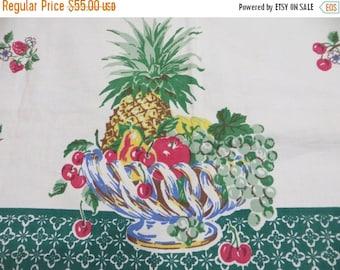 ON SALE Vintage Startex Tablecloth-FRUIT Basket-Classic 1950s-Hard To Find Pattern-Fruit-Cherries