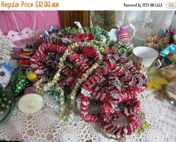 ON SALE Vintage Foil Christmas Tree Garland-12 YARDS-Red-Green-Gold