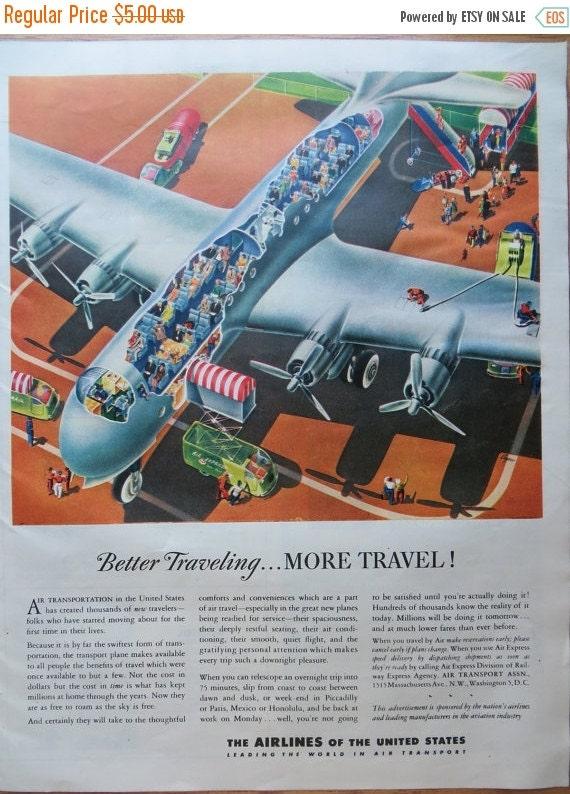 ON SALE Vintage Magazine Ad 1945-Paper-Ephemera-Ads-Airplane