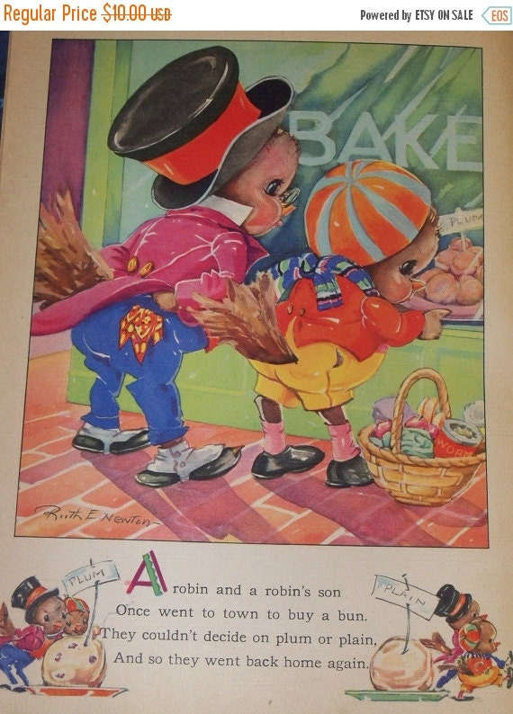 ON SALE Vintage Ruth Newton Nursery Rhyme Book Print-Little Robin Red Breast