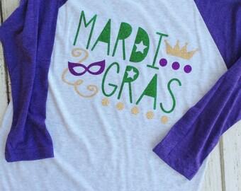 Glitter Mardi Gras Raglan, Mardi Gras Shirt, Mardi Gras List, NOLA Shirt, Mardi Gras Vacation, Mardi Gras Parade, Parade S