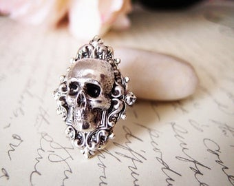 Ember-- skull Ring-adjustable-steampunk-Victorian-edgy chic- statement-multi layer ring VS035