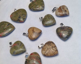 Gemstone Heart Pendants with silver plated bail Set of 10 NOS Ready to Wear with Bail 1990's New Old Stock