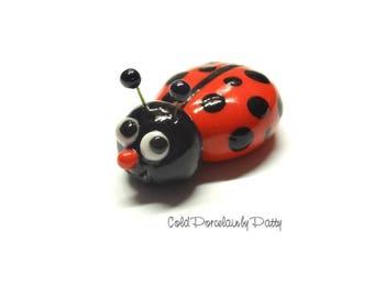 Cold Porcelain Ladybug Figurine, Ladybug Magnet, Ladybug Clay Sculpture, Cupcake Topper, Keepsake, Miniature, Ladybug Desk Decoration, Gift