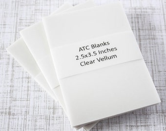 ATC Blanks ACEO Blanks Clear Vellum Artist Trading Card Supplies ACEO Supplies Altered Art Mixed Media Scrapbooking 40 count Art Card Blank