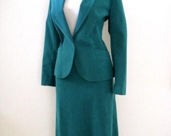 Teal Ultrasuede Suit - Vintage 70s Teal Ultra Suede Ladies Suit Jacket and Skirt - 1970s Secretary Suit - Size Medium 10