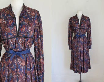 50% OFF...last call // vintage 1970s dress - PAISLEY PEASANT dress / L-Xl