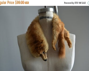 Sale 20% OFF Vintage 60s Light Brown Fox Fur Stole Collar Wrap with Face Glass Eyes Tail and 2 Paws Foxes 27""