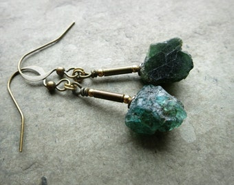 Rough Apatite Dangle Earrings, dark teal and gold rustic earrings with brass and raw sea green stones, Bohemian jewelry